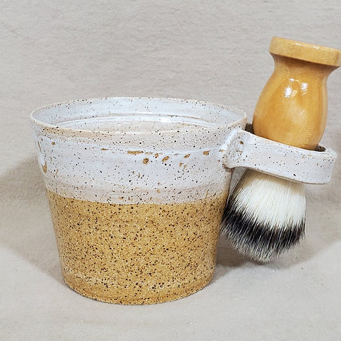 Handmade Ceramic Shaving / Lathering Bowl with Brush & Beard Soap Gi
