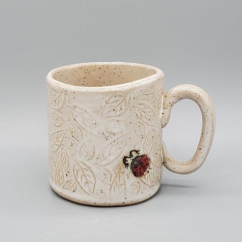 Handmade Ceramic White Leaf Mug with Lady Bugs