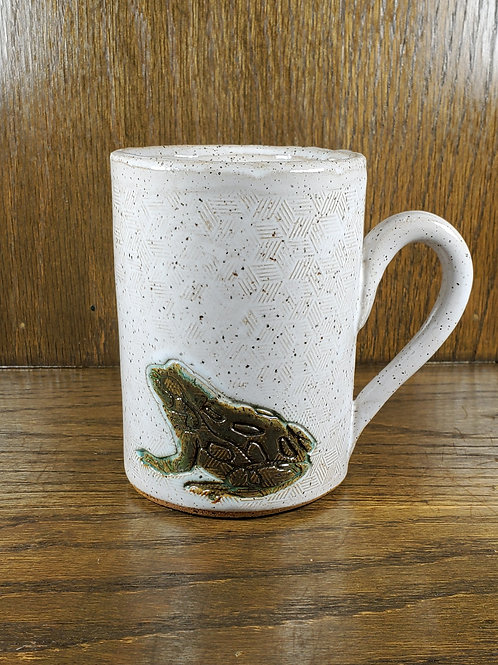 Handmade Ceramic 16 oz White Mug with a Green Toad