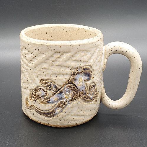 Handmade Ceramic White Mug with a Galaxy Pattern Octopus