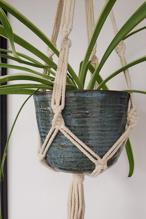 Handmade 6 Inch Blue Ceramic Planter with Handmade Cotton Macrame Hanger