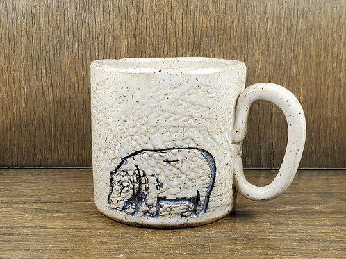 Handmade Ceramic White Mug with a Hippo