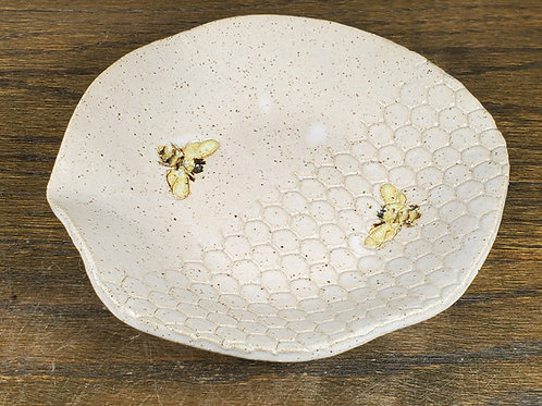 Handmade Ceramic White Bowl with Bees