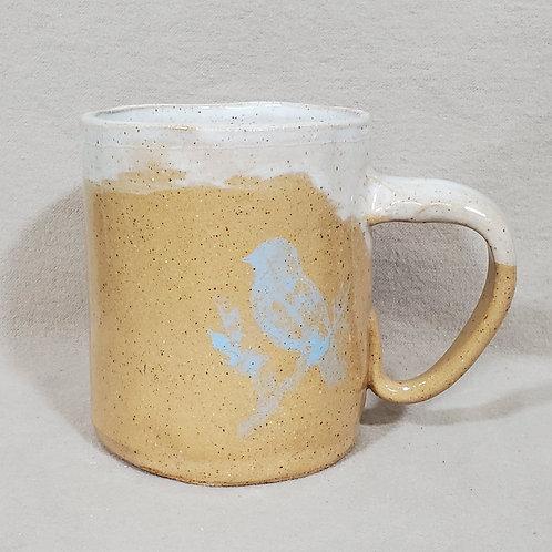 Handmade Ceramic Beige Mug with a Blue Finch Sitting on a Perch