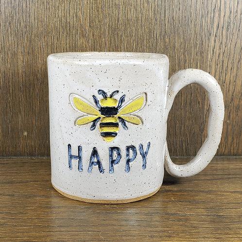Handmade Ceramic White Bee Happy Mug