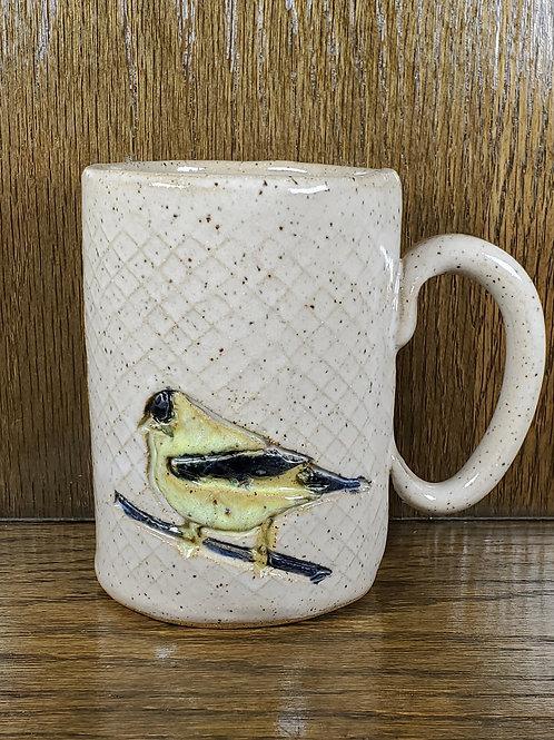 Handmade White Ceramic 16 oz Mug with a Gold Finch