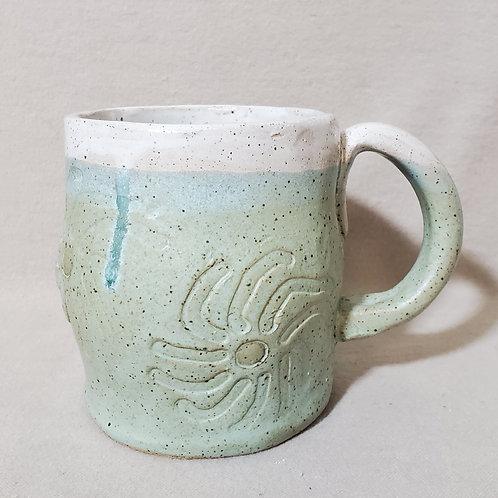 Handmade Ceramic Turquoise Glazed Mug with a Floral Print
