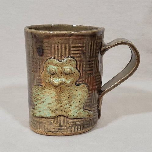 Green Frog on a Gray Textured Ceramic Mug