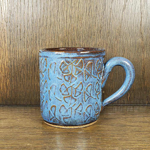 Handmade Ceramic Blue Mug with Ginko Leaves