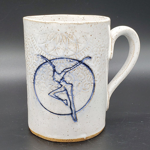 Pre-Order Handmade Ceramic White Mug with a Blue Fire Dancer / DMB Memorabilia