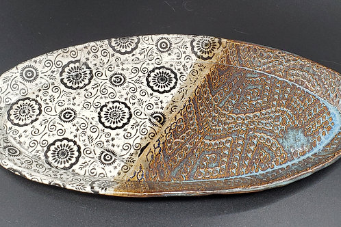 Handmade Blue & Paisley Oval Ceramic Serving Tray / Olive Tray / Cheese D