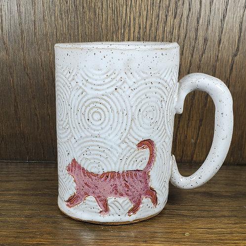 Handmade Ceramic 16 oz White Mug with a Red Cat