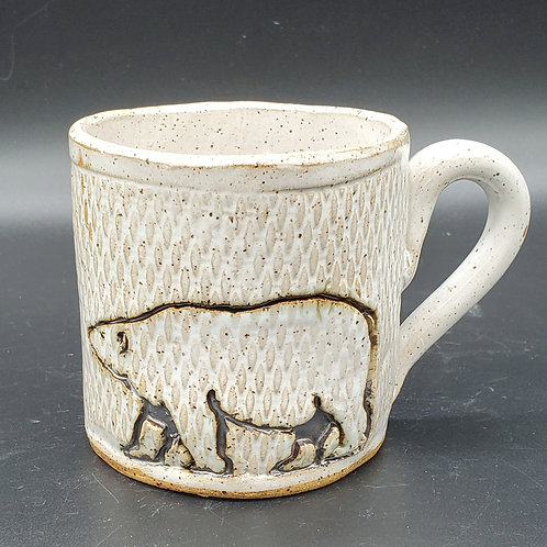 Handmade Ceramic White Mug with a Polar Bear