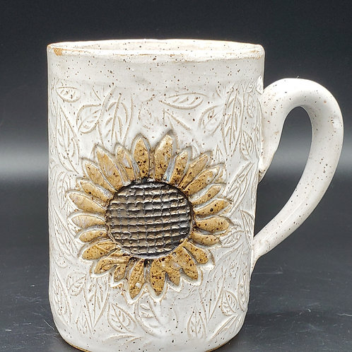 Handmade Ceramic 16 oz White Mug with a Golden Sunflower