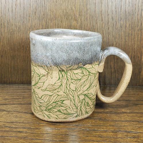 Handmade Ceramic Beige Mug with Green Foliage