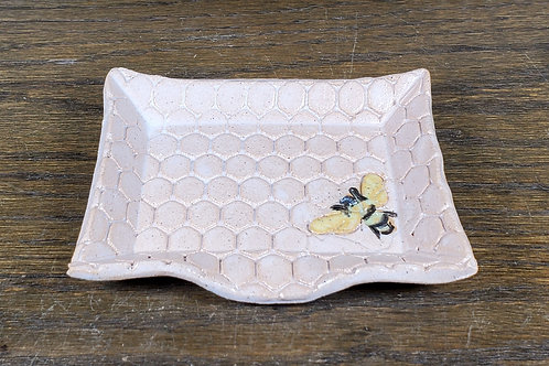 Handmade Ceramic White Soapdish with a Bee