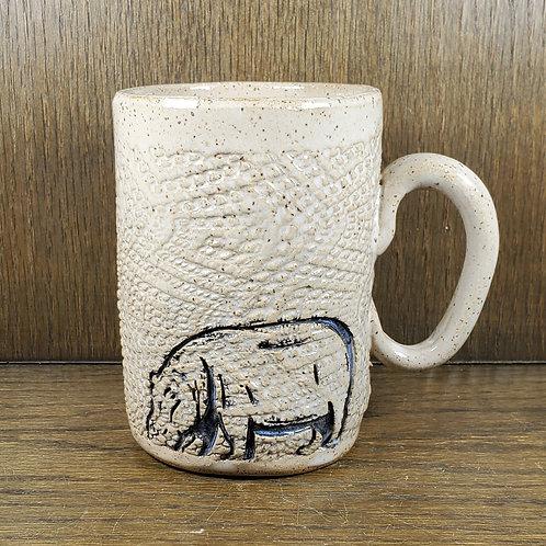 Handmade Ceramic 16 oz White Mug with a Hippo