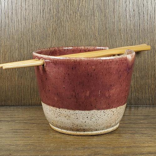 Handmade Ceramic Burgandy & Beige Ramen / Rice / Noodle Bowl