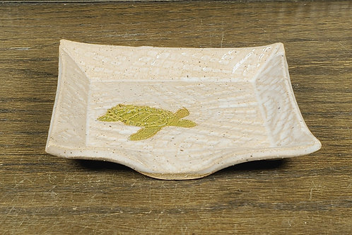 Handmade Ceramic White Soapdish with a Green Sea Turtle