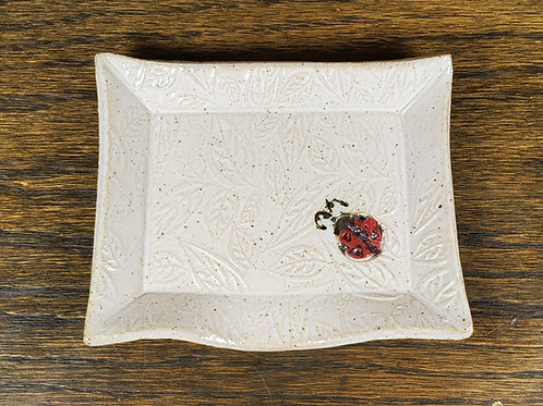 Handmade Ceramic White Soapdish with a Lady Bug