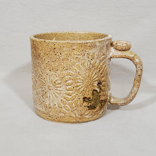 Handmade Beige Ceramic Mug with a Green Tree Frog