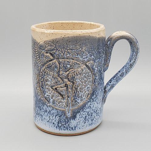 Handmade Ceramic 16 oz Blue & White Mug with a Fire Dancer Print / DMB Memorabi