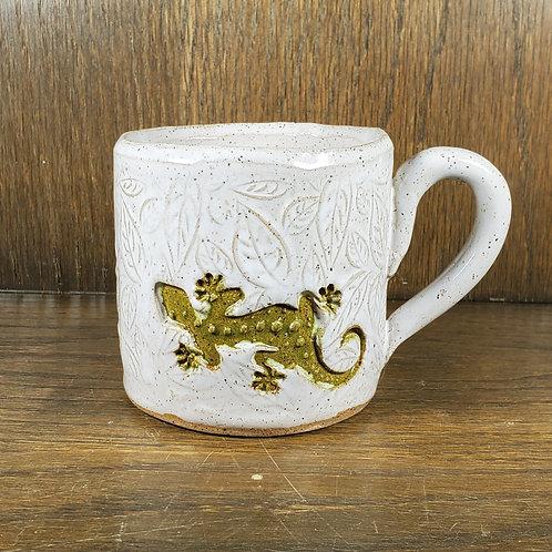 Handmade Ceramic White Mug with a Green Gecko Lizard