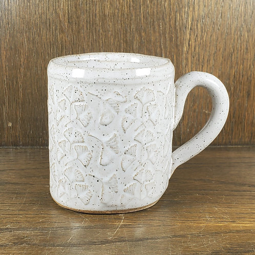 Handmade Ceramic White Mug with Ginko Leaves