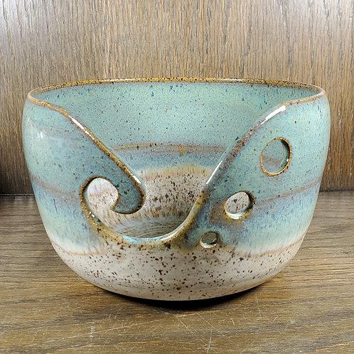 Handmade Turquoise & Beige Ceramic Yarn Bowl / Gift for Her