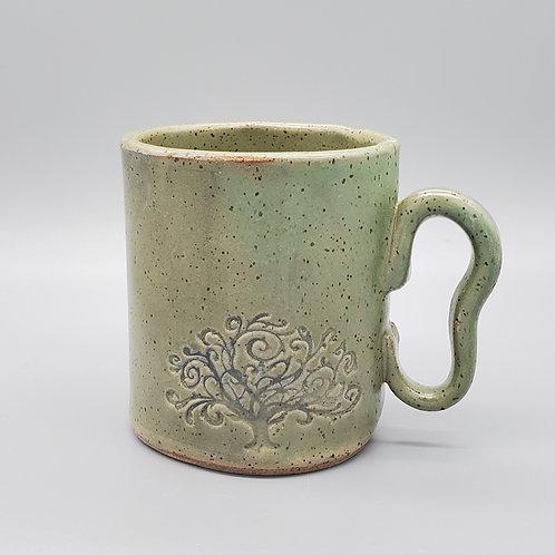 Handmade Ceramic Green Mug with the Tree of Life