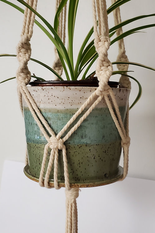 Pre-Order Handmade White & Turquoise Ceramic 4 Inch Planter with Macrame Hanger