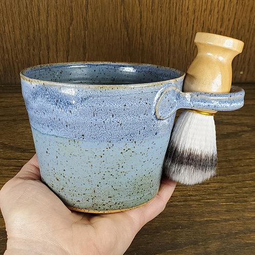 Handmade Ceramic Blue Shaving / Lathering Bowl with Brush & Beard Soap G