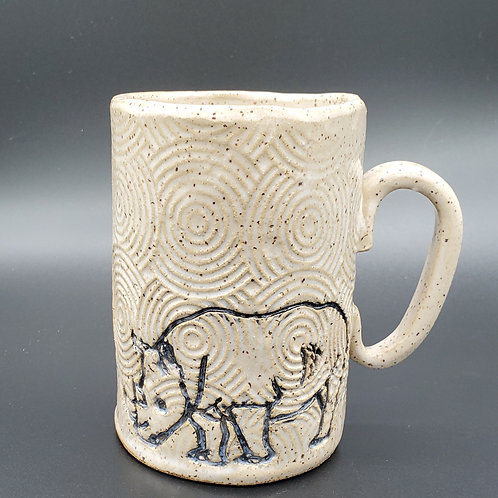Handmade Black Rhino on a White Textured 16 oz Ceramic Mug