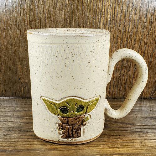 Pre-Order Handmade 16oz  Ceramic Beige Mug with Baby Yoda