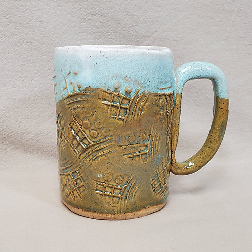 Handmade Brown, White & Turquoise Pattern Ceramic Mug