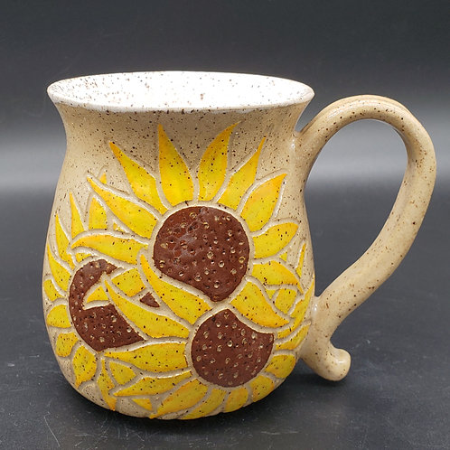 Handmade Ceramic Beige Mug with Yellow Sunflowers