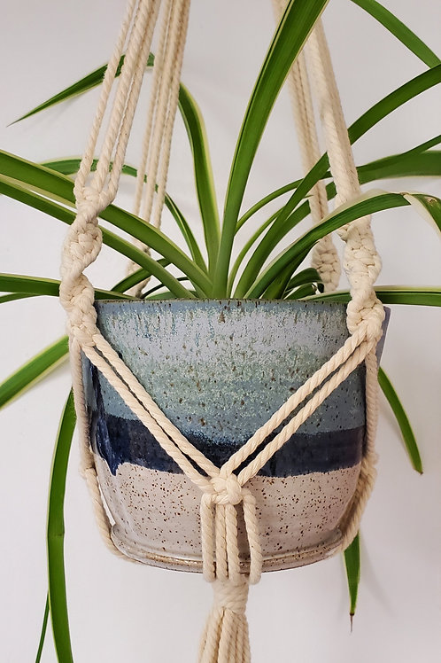 Handmade 5 Inch Blue & White Ceramic Planter with Handmade Cotton Macrame Hanger