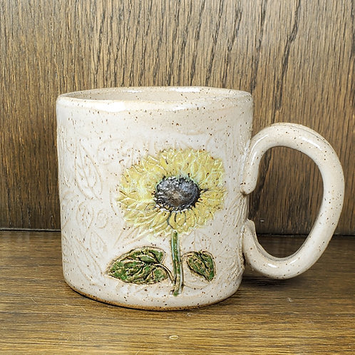Handmade Ceramic White Mug with a Golden Sunflower