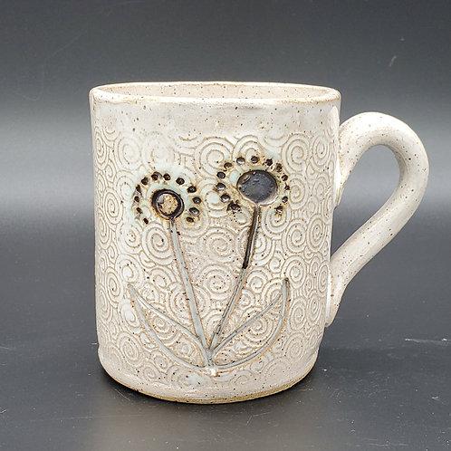 Handmade Ceramic White Mug with Black Flowers