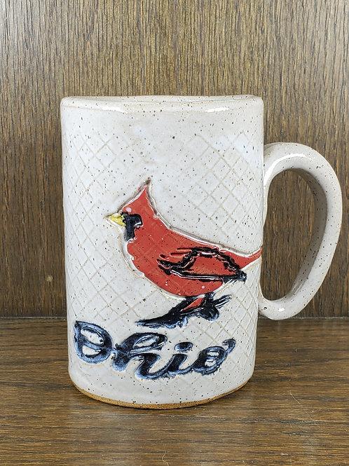 Handmade Ceramic White 16 oz Mug with a Red Cardinal Ohio State Bird