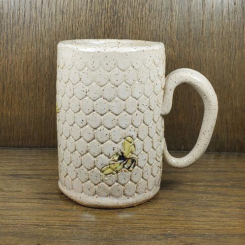 Handmade Ceramic 16 oz White Honeycomb Mug with Bees