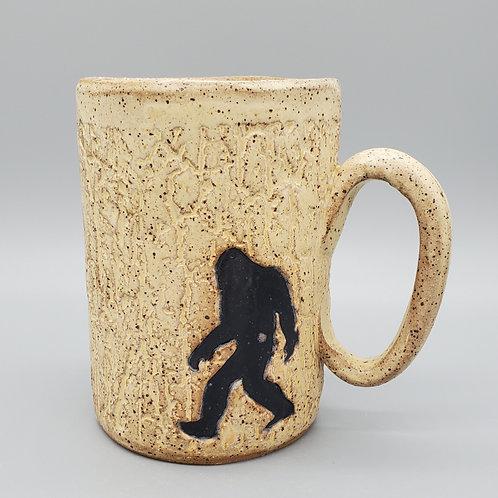 Handmade Ceramic 16 oz  Beige Mug with a Bigfoot / Sasquatch
