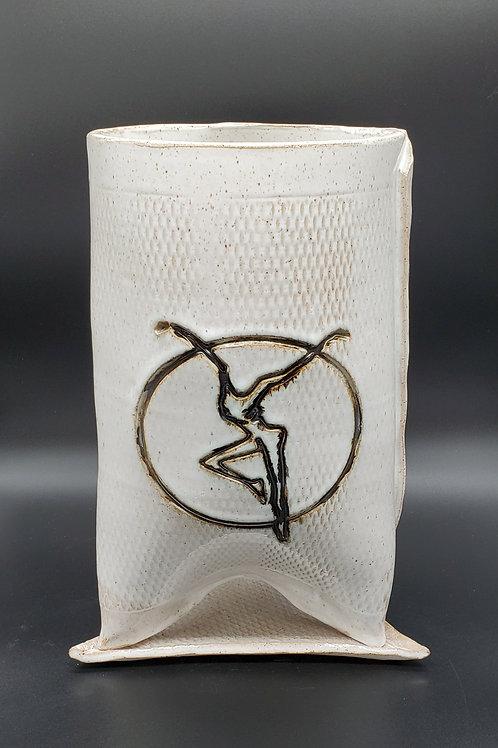 Handmade White Ceramic Planter with a Fire Dancer / DMB Memorabilia