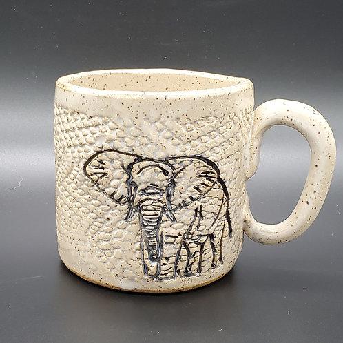 Handmade Ceramic White Mug with an Elephant
