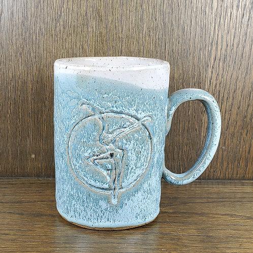 Handmade Ceramic 16 oz Turquoise Mug with a Fire Dancer Print / DMB Memorabi