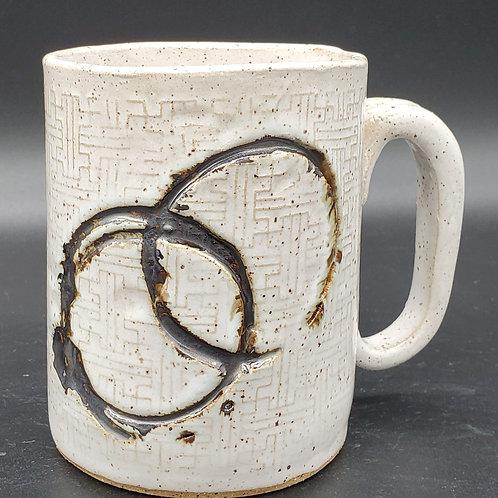 Handmade White Ceramic Mug with Black Coffee Rings / DMB Mem