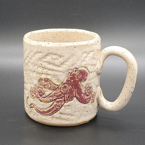 Handmade Ceramic White Mug with a Mulberry Octopus