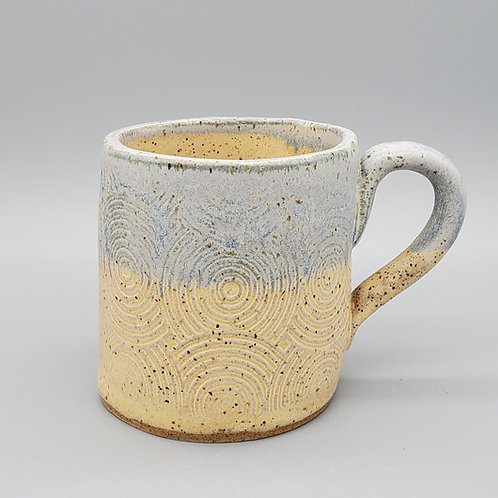 Handmade Blue & Beige Ceramic Mug with a Swirl Pattern