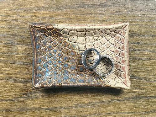 Handmade Blue & Beige Ceramic Trinket Dish / Jewelry Tray