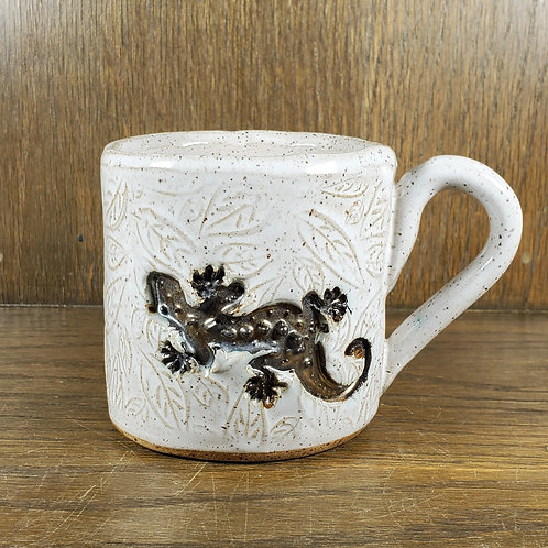 Handmade Ceramic White Mug with a Brown Gecko Lizard